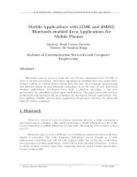 Mobile applications with J2ME and JSR82 bluetooth enabled java applications for mobile phones
