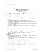 MA TRẬN ĐỀ THI HỌC KỲ 2   LỚP 10