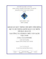 khảo sát quy trình chế biến tôm đông iqf và hệ thống kiểm soát các điểm tới hạn (haccp) tại công ty cổ phần thủy sản sạch việt nam (vina cleanfood)