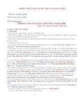 hồ sơ dự thi dạy học tích hợp liên môn tiết 39 thông tin về ngày trái đất năm 2000