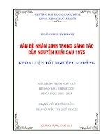 VẤN đề NHÂN SINH TRONG SÁNG tác của NGUYỄN KHẢI SAU 1975