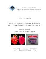 khảo sát một số yếu tố ảnh hưởng đến chất lượng yaourt thanh long ruột đỏ