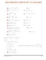 Bài tập BPT mũ và logarit có đáp án
