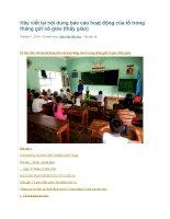 Hãy viết lại nội dung báo cáo hoạt động của tổ trong tháng gửi cô giáo