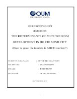 The determinants of MICE tourism developement in ho chi minh city (how to grow MICE tourism in MICE tourism)