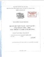 Quan hệ việt nam   hàn quốc giai đoạn 1992   2002 đặc điểm và khuynh hướng