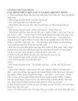 Hướng dẫn soạn bài : LUYỆN TẬP VẬN DỤNG  CÁC HÌNH THỨC KẾT CẤU VĂN BẢN THUYẾT MINH
