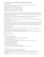 Hướng dẫn soạn bài : Luyện tập về liên kết trong văn bản (Tiếp theo)