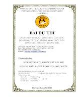 CUỘC THI vận DỤNG KIẾN THỨC LIÊN môn để GIẢI QUYẾT các TÌNH HUỐNG THỰC TIỄN DÀNH CHO học SINH TRUNG học ẢNH HƯỞNG của THUỐC TRỪ sâu đến hệ SINH THÁI và sức KHỎE của CON NGƯỜI