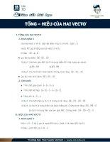 Tổng và hiệu của hai vec tơ toán 10