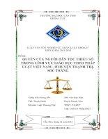 quyền của người dân tộc thiểu số trong lĩnh vực giáo dục theo pháp luật việt nam  ở huyện thạnh trị, sóc trăng
