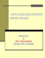 CAPITAL BUDGETING  INVESTMENT APPRAISAL METHODS