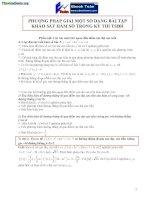 PHƯƠNG PHÁP GIẢI một số DẠNG bài tập KHẢO sát hàm số TRONG kỳ THI TSĐH cực hay