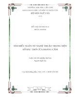 Timg hiểu ngôn từ nghệ thuật trong một số bài thơ của hoàng cầm