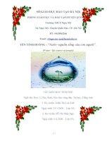 """CUỘC THI vận DỤNG KIẾN THỨC LIÊN môn để GIẢI QUYẾT TÌNH HUỐNG nước  nguồn sống của con người""""  WATER  LIFE SOURCE OF PEOPLE"""