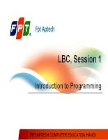 Session 01 Introduction to Programming