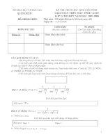 Download đề thi và đáp án giải toán trên máy tính cầm tay năm học 2007   2008   lớp 12 BTTHPT   cấp tỉnh