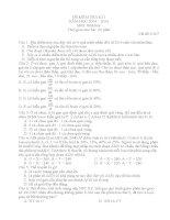 I đề kiểm tra học kì môn sinh học 12