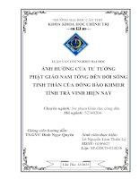 ảnh hưởng của tư tưởng phật giáo nam tông đến đời sống tinh thần của đồng bào khmer tỉnh trà vinh hiện nay