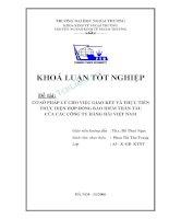 Đề tài Cơ sở pháp lý cho việc giao kết và thực tiễn thực hiện hợp đồng bảo hiểm thân tàu của các công ty hàng hải Việt Nam