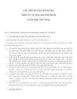 CÂU HỎI ÔN TẬP KIỂM TRA  MÔN TƯ TƯỞNG HỒ CHÍ MINH