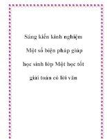 skkn một số biện pháp giúp học sinh lớp một học tốt giải toán có lời văn