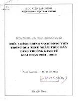 Điều chỉnh chính sách động viên thông qua thuế nhằm thúc đẩy tăng trưởng kinh tế giai doạn 2001 2010