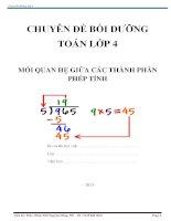 chuyên đề bồi dưỡng toán lớp 4 mối quan hệ giữa các thành phần phép tính