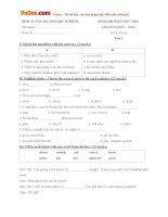 Bộ đề kiểm tra 45 phút môn tiếng Anh lớp 8