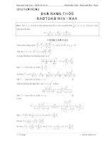 Bất đẳng thức và bài toán MinMax ôn thi THPT Quốc Gia 2016