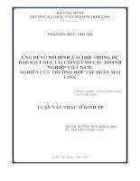 ỨNG DỤNG mô HÌNH z SCORE TRONG dự báo KIỆT QUỆ tài CHÍNH CHO các DOANH NGHIỆP VIỆT NAM NGHIÊN cứu TRƯỜNG hợp tập đoàn MAI LINH