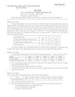 Đề thi Nguyên lý thống kê kinh tế tháng 06 2015