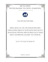 PHÂN TÍCH các yếu tố ẢNH HƯỞNG đến CHẤT LƯỢNG DỊCH vụ NGÂN HÀNG bán lẻ của NGÂN HÀNG THƯƠNG mại cổ PHẦN XUẤT NHẬP KHẨU (EXIMBANK)TẠI KHU vực THÀNH PHỐ hồ CHÍ MINH