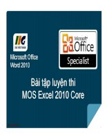 MOS excel  bài tập luyện thi MOS excel 2010 core