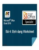 MOS excel  bài 4 định dạng worksheet