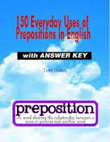 150 everyday uses of prepositions in english with answers key
