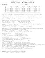 Đề kiểm tra 15 phút hóa học 12