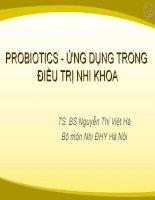 Probiotics   ứng dụng trong điều trị nhi khoa