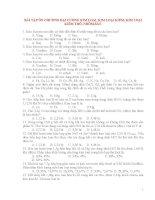 Tổng hợp các câu hỏi trắc nghiệm ôn thi đại học môn hóa