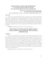 KHẢO sát KHẢ NĂNG SINH BACTERIOCIN của các CHỦNG VI KHUẨN LACTIC và ỨNG DỤNG TRONG bảo QUẢN SINH học