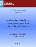 ÁNH GIÁ TÌNH TRẠNG RỐI LOẠN THĂNG BẰNG ACID-BASE Ở BỆNH NHÂN TẠI KHOA CẤP CỨU CHỐNG ĐỘC BỆNH VIỆN NHI TRUNG ƯƠNG