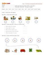 Đề thi học kì 1 môn Tiếng Anh lớp 5 theo giáo trình Let's go