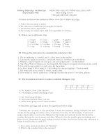 Đề thi học kì II tiếng anh 6(cực hay)