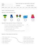 Đề kiểm tra học kì 2 môn Tiếng Anh lớp 5