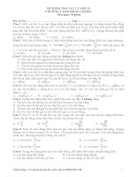 Đề kiểm tra trắc nghiệm Vật lý 12 phần dao động cơ học