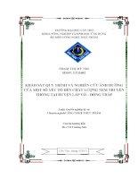 khảo sát quy trình và nghiên cứu ảnh hưởng của một số yếu tố đến chất lượng nem truyền thống tại huyện lấp võ – đồng tháp