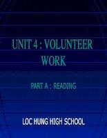 Unit 4: Volunteer Work   Reading