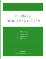 121 Bài tập Tiếng anh lớp 6 thí điểm