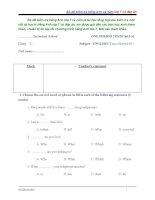 BỘ đề KIỂM TRA TIẾNG ANH lớp 7 cả năm (có đáp án)