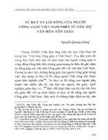 Tư duy và lối sống của người công giáo Việt Nam nhìn từ góc độ văn hóa